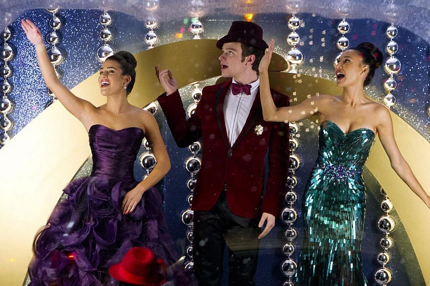 Glee made its mark on TV incorporating music and dance routines into drama and propelled to fame relative unknowns such as (above from left) Lea Michele, Chris Colfer and Naya Rivera. -- PHOTO: STARWORLD, FOX BROADCASTING