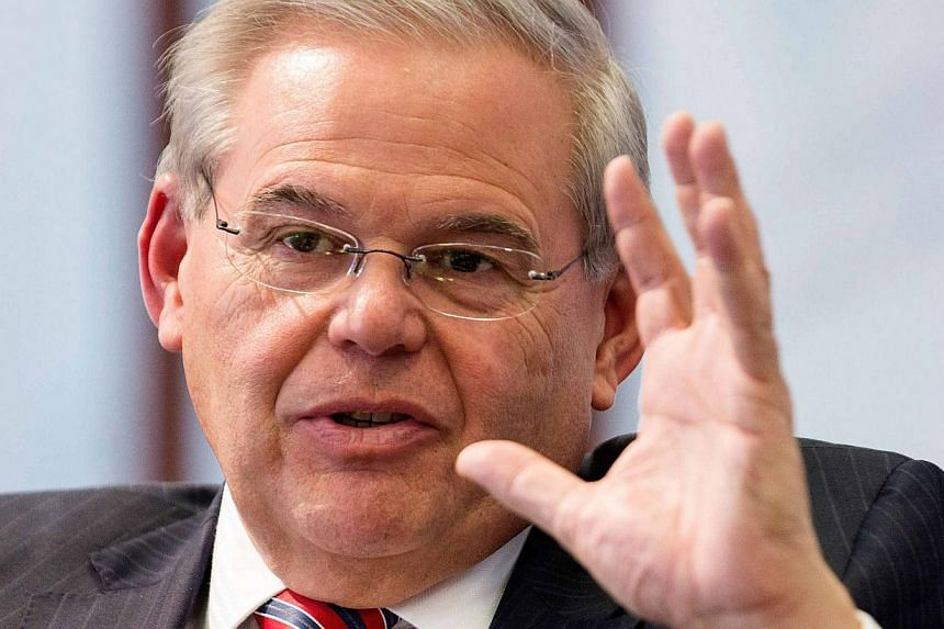 US Senator Robert Menendez (above) was indicted Wednesday on charges of public corruption, following a two-year federal investigation into his ties to a friend who contributed large sums to his re-election campaign. -- PHOTO: REUTERS