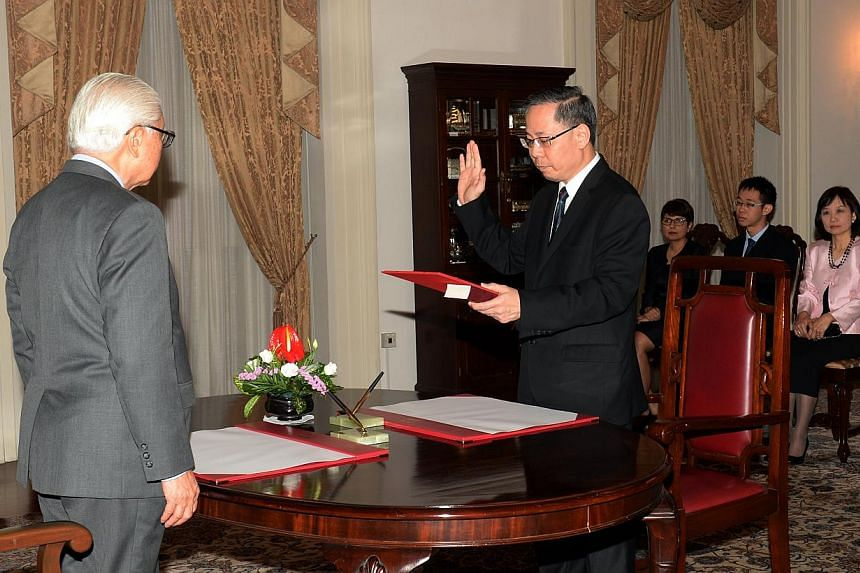 Former Registrar of the Supreme Court, Mr Foo Chee Hock has been appointed by President Tony Tan Keng Yam as Judicial Commissioner of the High Court at a swearing-in ceremony at the Istana on April 02, 2015. -- ST PHOTO: AZIZ HUSSIN