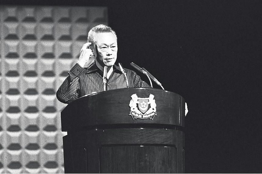 Prime Minister Lee Kuan Yew speaking at the 1982 National Day Rally at the National Theatre. -- PHOTO: ST FILE