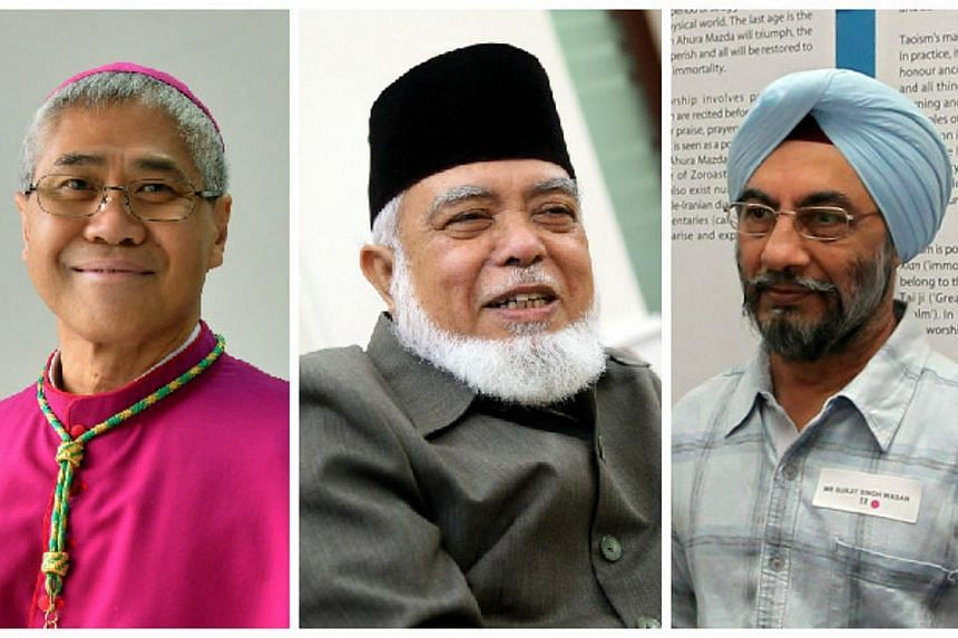 (From left) Archbishop William Goh, former mufti Shaikh Syed Isa Mohamed Semait and Sikh Advisory Board chairman Surjit Singh have been appointed as new members of the Presidential Council for Minority Rights. -- PHOTOS: ST FILE, BERITA HARIAN