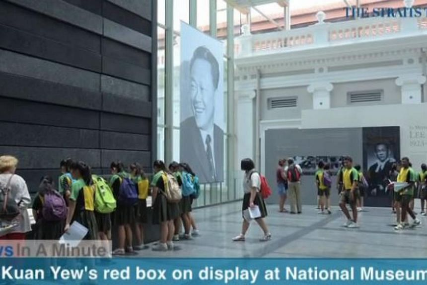 In today's News In A Minute, we look at Mr Lee Kuan Yew's red box being put on display at the National Museum of Singapore. -- PHOTO: SCREENGRAB FROM RAZORTV