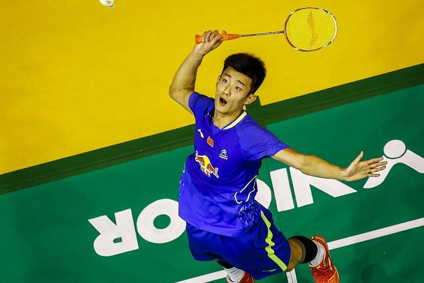 Chen Long of China in action against Parupalli Kashyap of India (not pictured) during the Men's single qualifying match of the Badminton Malaysian Open at Putra Stadium in Kuala Lumpur, Malaysia, on April 2, 2015. The badminton world No. 1 joined his