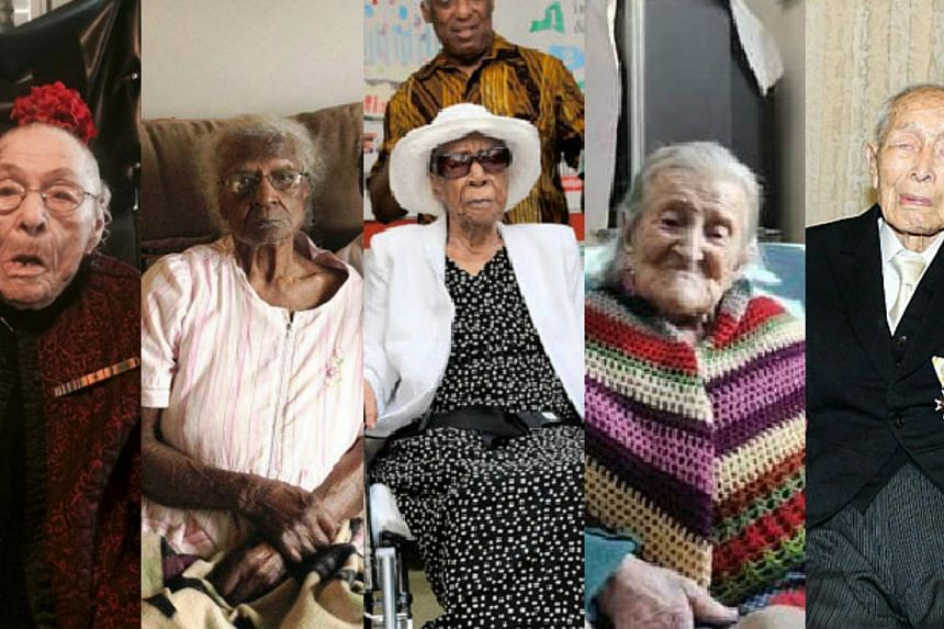 From left: Gertrude Weaver, Jeralean Talley, Susannah Mushatt Jones, Emma Morano-Martinuzzi and Sakari Momoi are currently the five oldest living people in the world. -- PHOTOS: REUTERS, AFP, YOUTUBE, FACEBOOK