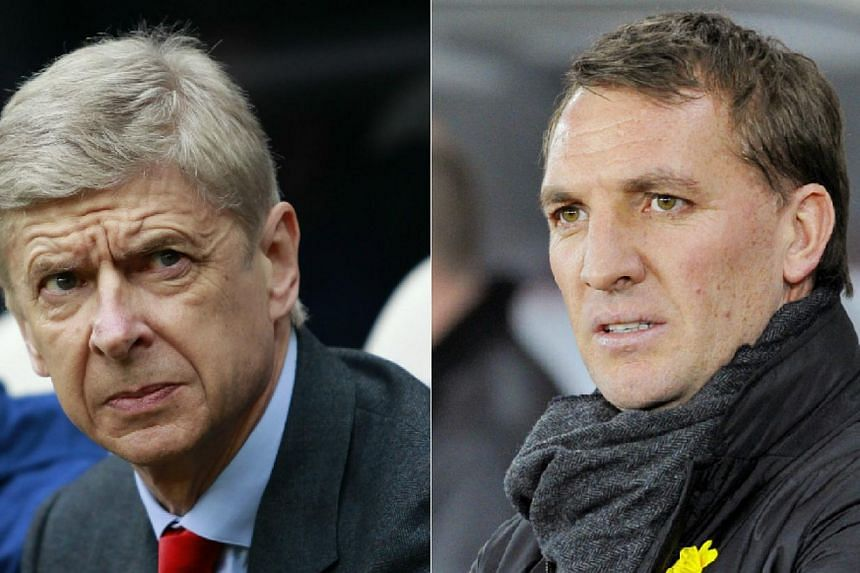 Arsenal manager Arsene Wenger (left) and Liverpool boss Brendan Rodgers will come face to face when their sides meet on Saturday. -- PHOTOS: REUTERS