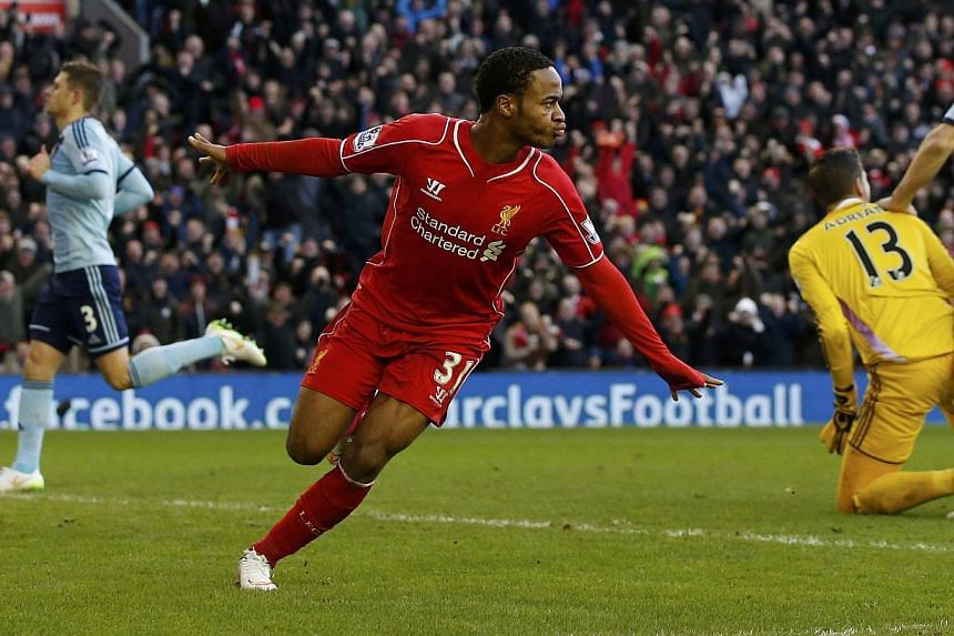 """Liverpool's Raheem Sterling in action against West Ham United on Jan 31, 2015. Sterling rejected suggestions he was """"money-grabbing"""" in an interview aired on Wednesday, after his talks over a new contract reportedly hit an impasse. -- PHOTO:REU"""