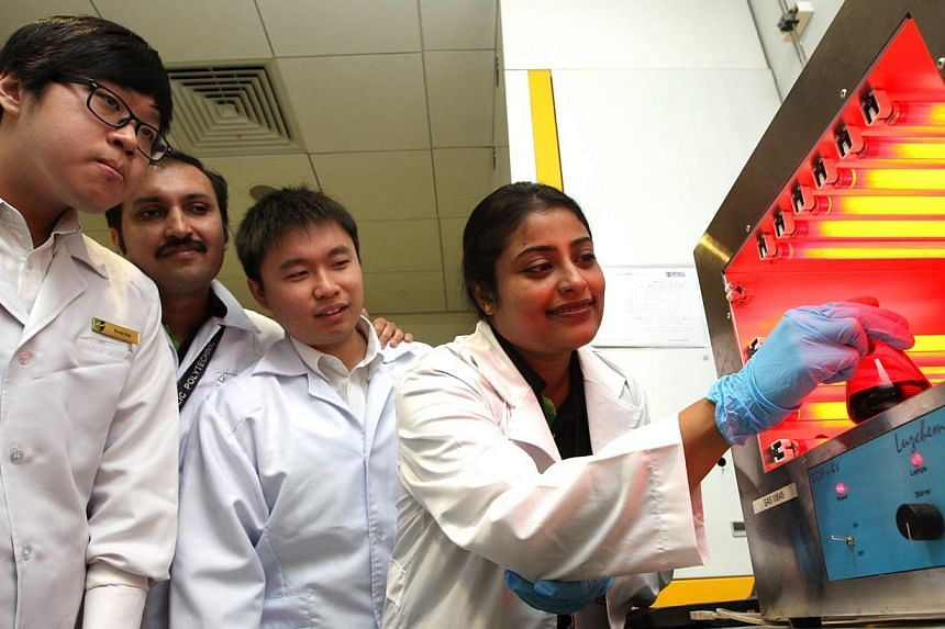 The researchers from Republic Polytechnic include (from left) Mr Kevin Koh, Dr Chiradip Chatterjee, Mr Keith Wong and Dr Susmita Ban.