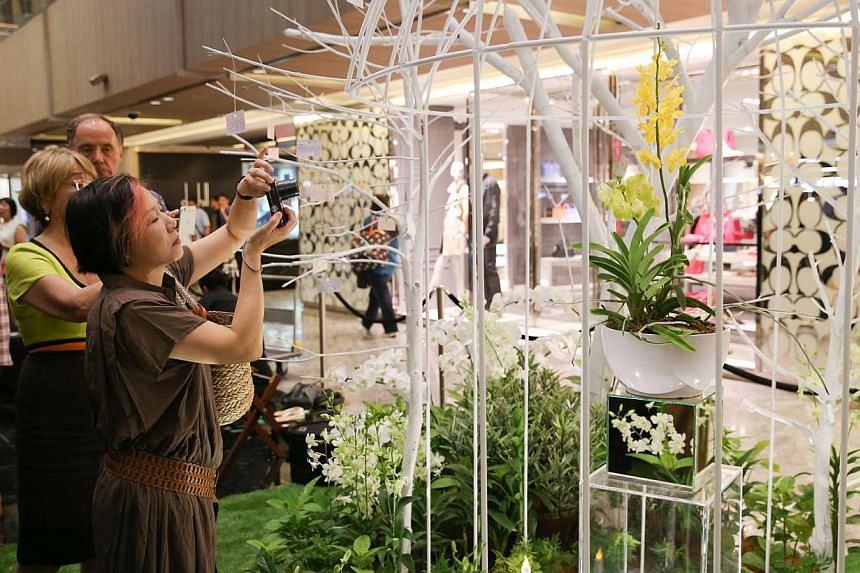 The free exhibition features displays from 38 Chapter members, famous floral designers and Ikebana artists from Singapore. It is open from 10am to 9pm. -- ST PHOTO: ONG WEE JIN
