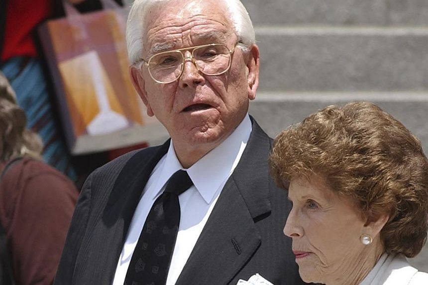 Televangelist Robert Schuller and his wife Arvella arrive for a memorial service for the late actor Gregory Peck in Los Angeles, in this file photo taken June 16, 2003. Schuller, known worldwide for his weekly Hour Of Power broadcasts, died in Southe