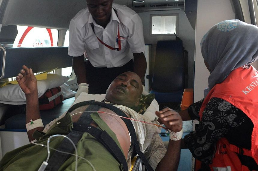 A victim of the attack on a Kenyan university, arrives at the Kenyatta hospital, on April 2, 2015 in Nairobi. At least 147 students were massacred when Somalia's Shebab Islamist group attacked a Kenyan university on Thursday, the government said, a