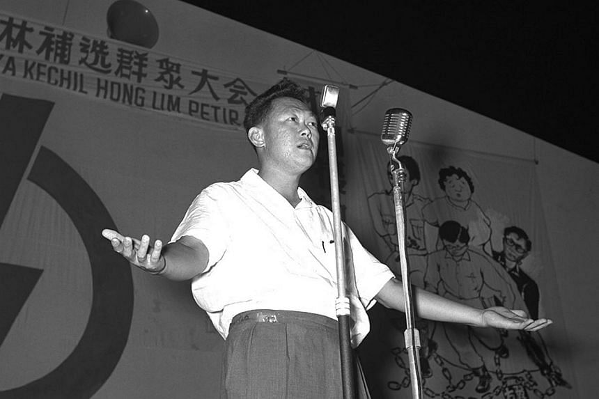 Mr Lee Kuan Yew at an election rally in 1961. He sought to educate his people to appreciate how enriching a plural society could be, and to get them to understand the necessity to establish a multiracial and multilingual state. -- PHOTO: ST FILE PHOT