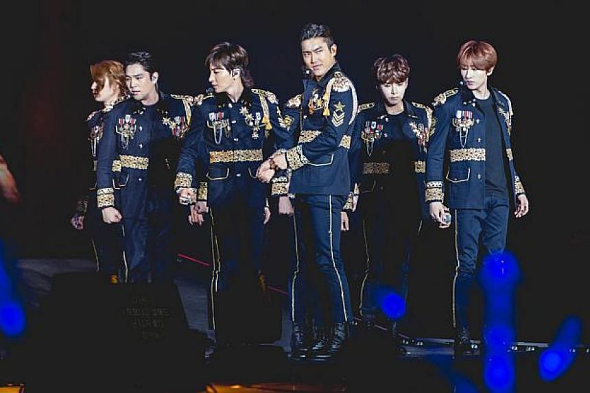 Super Junior members (from right) Eunhyuk, Ryeowook, Siwon, Leeteuk, Kangin and Heechul. -- PHOTO: ONE PRODUCTION