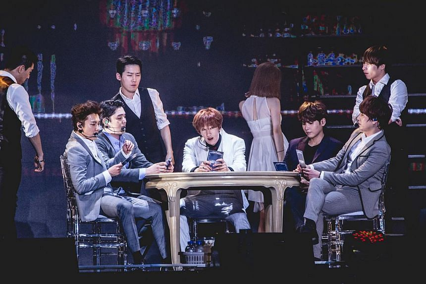 Super Junior members (from left) Donghae, Kangin, Eunhyuk, Ryeowook and Kyuhyun. -- PHOTO: ONE PRODUCTION