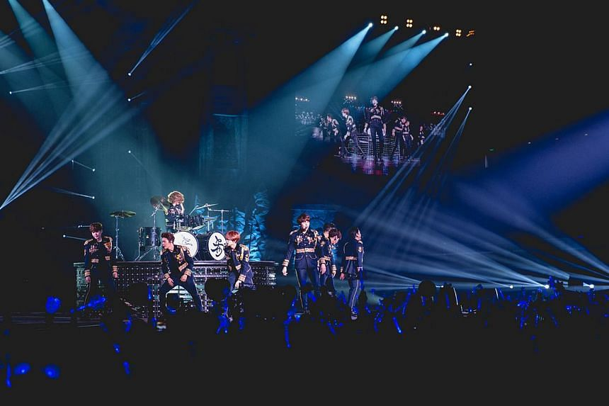 Super Junior's three-hour concert was filled with their spontaneous banter, hilarious antics and high-octane dance numbers such as Sorry Sorry and Mamacita. -- PHOTO: ONE PRODUCTION