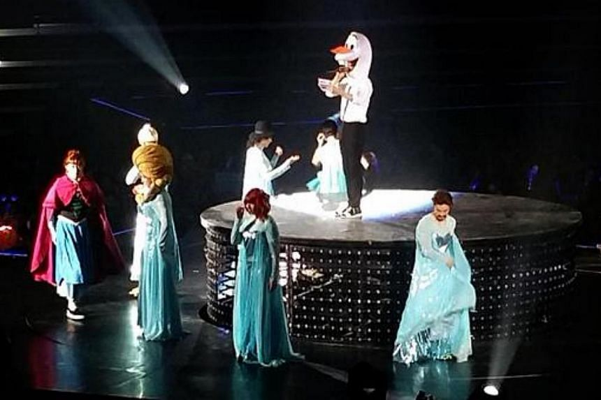 In one segment, the members of mega boyband Super Junior transformed into the Disney characters Queen Elsa and Princess Anna. -- PHOTO: ST_LIFETWEETS/TWITTER
