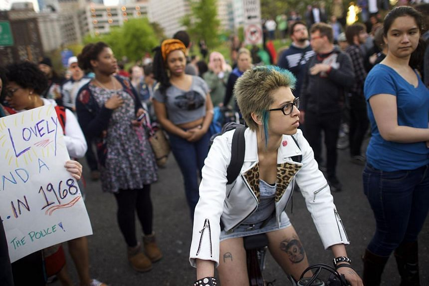 Protestors marching over the death of Freddy Gray on April 30, 2015, in Philadelphia, Pennsylvania. -- PHOTO: AFP