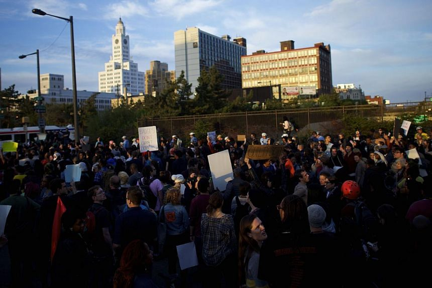 Protestors demonstrating over the death of Freddy Gray on April 30, 2015, in Philadelphia, Pennsylvania. -- PHOTO: AFP