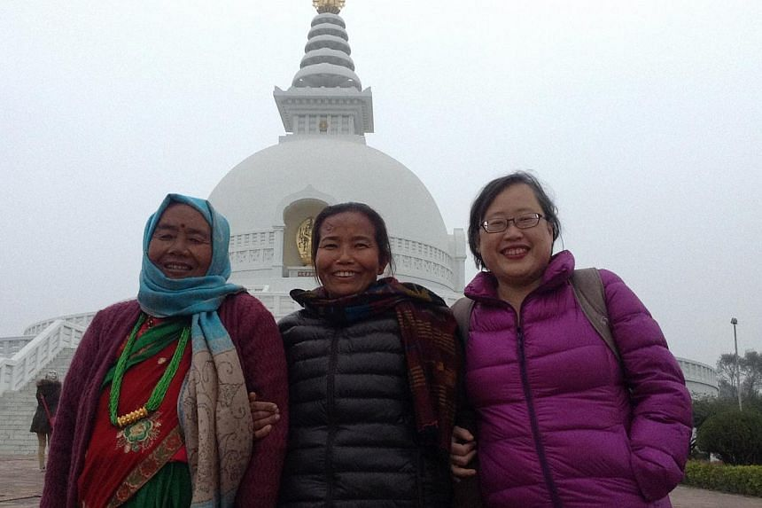 The writer (above, right) with her mother-in-law Laxmi Gurung (left) and eldest sister-in-law Goma Gurung at the Peace Pagoda in Lumbini in January last year. The writer's youngest sister-in-law Aayasa Gurung (below, left) was in Pokhara for a yearly