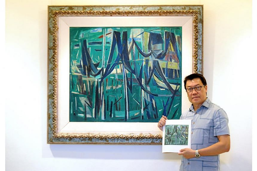 Collector Patrick Goh, with the Chen Wen Hsi painting he owns. He has produced evidence that his piece is authentic.