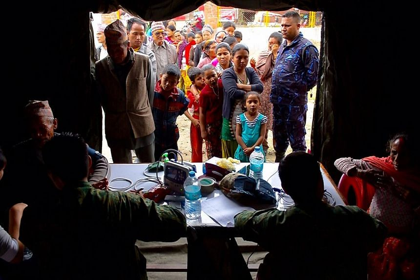 The Singapore Armed Forces medical team in Gokarna. -- ST PHOTO: DESMOND FOO