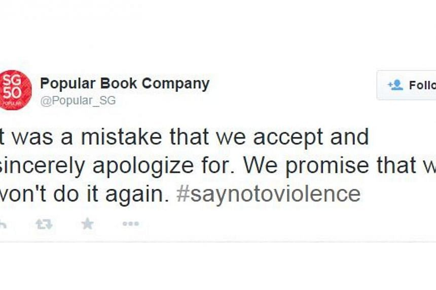Popular bookstore took to its Twitter account to apologise for a tweet which poked fun at teen blogger Amos Yee.-- SCREEN GRAB FROM POPULAR BOOK COMPANY / TWITTER