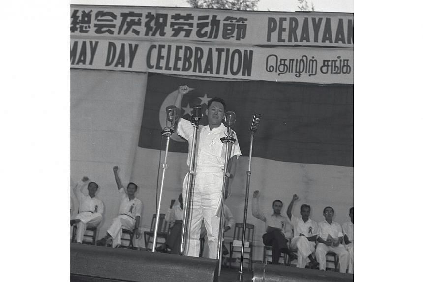 Singapore's founding prime minister Lee Kuan Yew at the first May Day rally in 1960. His contributions in the unions helped make Singapore what it is today, said Prime Minister Lee Hsien Loong said at the May Day Rally on May 1, 2015.  -- PHOTO: