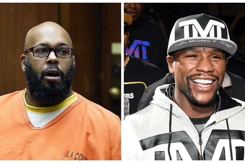 """Fallen rap mogul Marion """"Suge"""" Knight (left) will be rooting for Floyd Mayweather (right) from behind bars this weekend - hoping his old friend can help pay his US$10 million (S$13.2 million) bail bill, his lawyer said Thursday. -- PHOTOS: AFP"""
