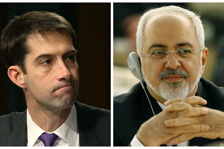 US Senator Tom Cotton (left) and Iranian Foreign Minister Javad Zarif (right) squared off on Twitter amidheated debate over Iran policy in the US Senate. -- PHOTOS: AFP, REUTERS