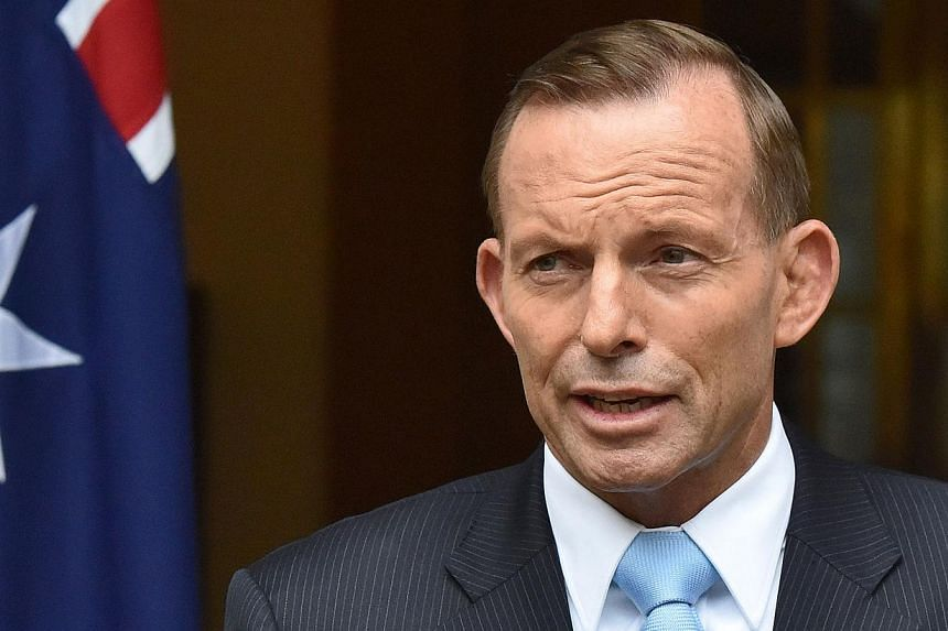 Tony Abbott, Australia's prime minister, speaks during a news conference at Parliament House in Canberra, Australia, on Monday, Feb 9, 2015. -- PHOTO: BLOOMBERG