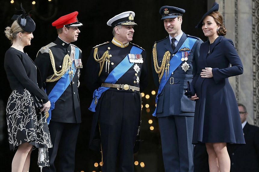 (From left)Britain's Sophie, Countess of Wessex, stands with Prince Edward, Prince Andrew, Prince William and Catherine, Duchess of Cambridge, after a flypast of military aircraft, following the Afghanistan service of commemoration at St Paul's