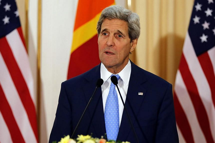 US Secretary of State John Kerry said democracy was under threat in the Maldives as he added his voice Saturday to criticism over the jailing of the islands' first freely-elected president Mohamed Nasheed. -- PHOTO: EPA