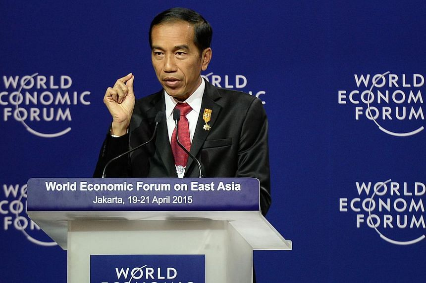 Indonesian President Joko Widodo speaking during the World Economic Forum on East Asia in Jakarta on April 20, 2015. While many Indonesians applauded the President's resolve in the mass executions of drug offenders, Indonesia's image overseas has bee