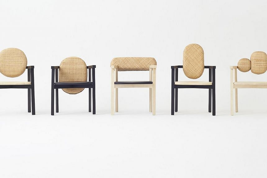 Lin, Atelier Ikebuchi's low table, has a surface that resembles the scales of a dragon. Chairs (below) from the Tokyo Tribal Collection and made from volcanic ash, bamboo and wood. Outofstock's Luna Light (above), which won the company an Outstanding