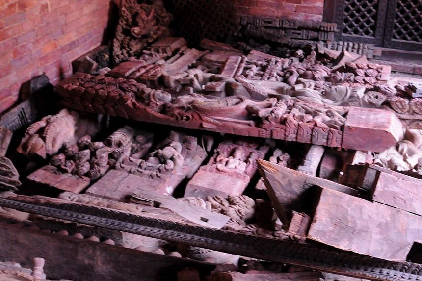 At least six major temples clustered in Patan's historic Durbar Square crashed to the ground in the earthquake of April 25. -- ST PHOTO: NIRMAL GHOSH