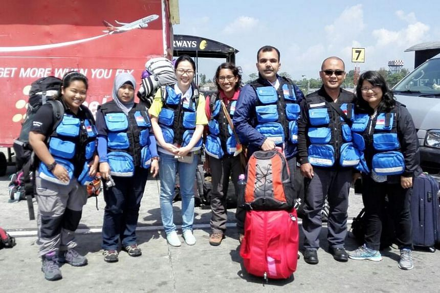 Three doctors and four nurses from the Ministry of Health arrived at Kathmandu airport on Saturday, May 2, 2015. They will be working with the Singapore Armed Forces medical team in Nepal. -- ST PHOTO: LIM YAN LIANG