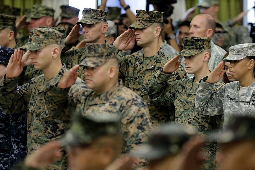 United States military troops join counterparts from the Philippines for opening rites of the Philippines-US Exercise Balikatan in Quezon City, east of Manila, in the Philippines, on April 20, 2015.Sexual assault in the US military declined ove
