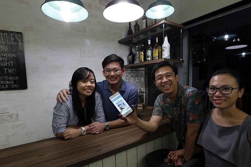 Ms Eileen Seah and husband Lee Xian Yi (both above, left) became friends with husband-and-wife design team Eric Tan and Dolly Teo (both above, right) after meeting online, while Singapore Hokkien Language Meetup Group members Grace Goh, Michael Jow a