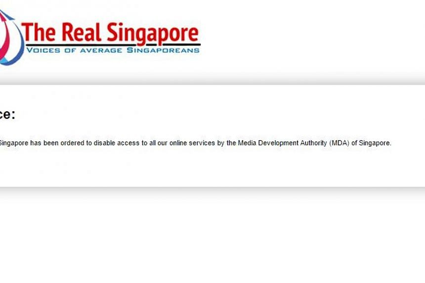 Socio-political site The Real Singapore (TRS) was taken down on Sunday evening, after its editors' licence to operate the site was suspended by the Media Development Authority (MDA). -- PHOTO: SCREENGRAB FROM THE REAL SINGAPORE WEBSITE