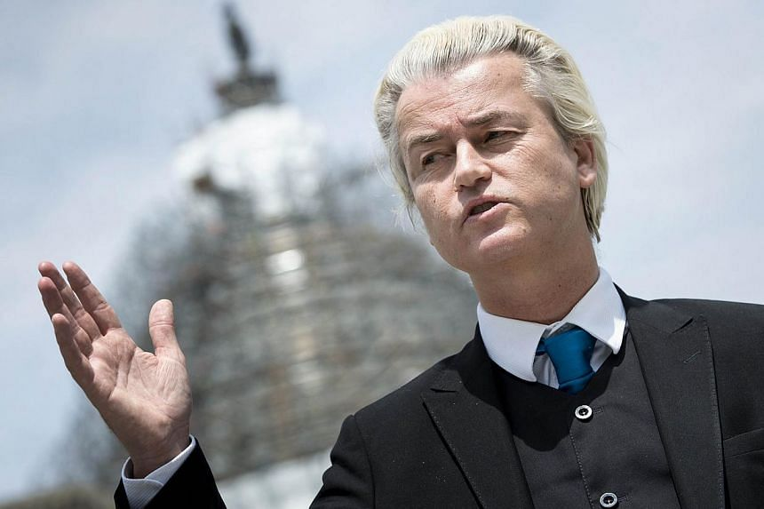 This April 30, 2015 file photo shows Dutch Member of Parliament Geert Wilders speaking during a press conference on Capitol Hill April in Washington, DC. -- PHOTO: AFP