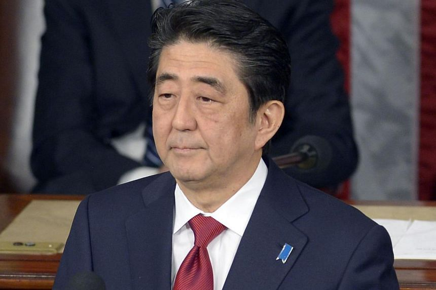 Japanese PM Shinzo Abe addressing the US Congress on Wednesday. He drew flak from some observers for his lack of contrition.