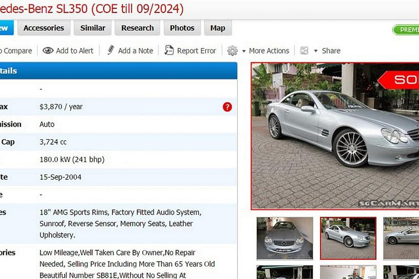 A screenshot of an ad for a Mercedes Benz SL350 that is currently under legal dispute between the Tan family and used-car dealer David Peh of Fivespeed Motor Trading. Mr Peh said the Tans sold the car to him and is suing the Tans for money owing to h