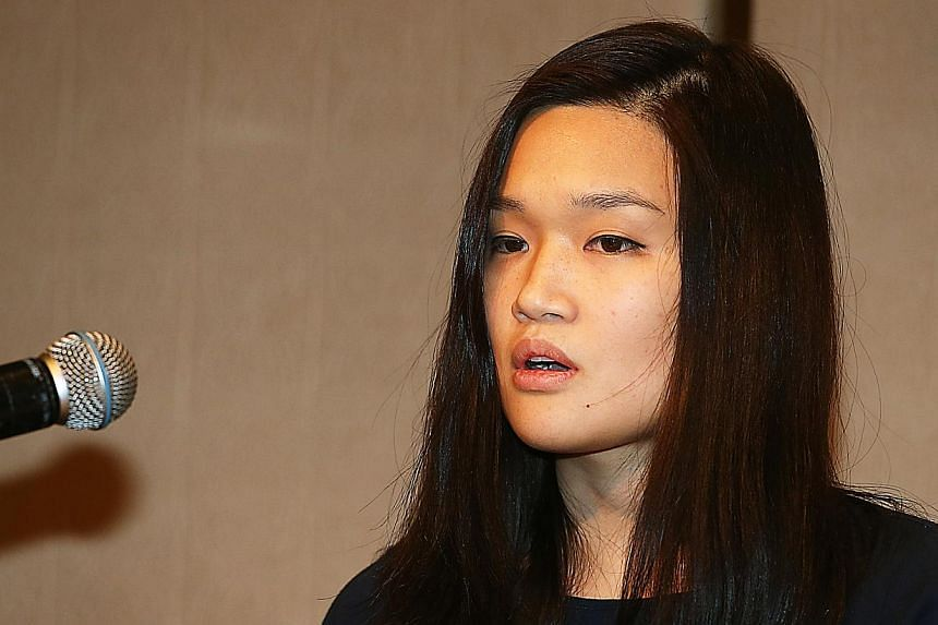 Kidnapped victim Queenie Rosita Law, granddaughter of Bossini clothing chain founder Law Ting Pong, speaks to the media at the Four Seasons Hotel in Central, Hong Kong on April 30, 2015. Hong Kong police on Monday arrested one of six suspects who fle