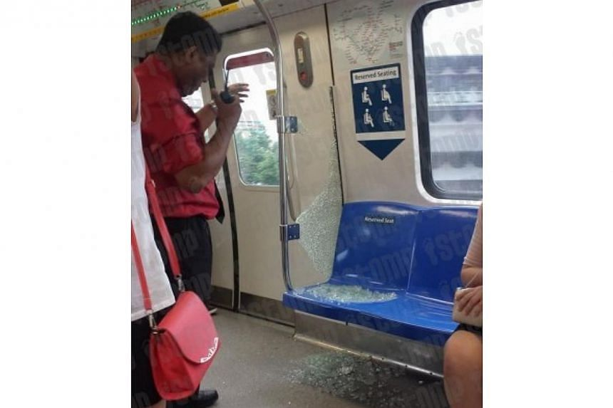 """Train passenger Shah, who captured the incident in photos, told citizen journalism website Stomp that he heard """"a loud noise"""" when the glass broke. -- PHOTO: STOMP"""