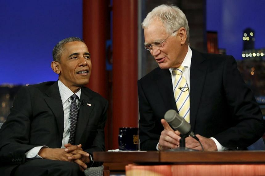 U.S. President Barack Obama tapes an appearance on the Late Show with David Letterman at the Ed Sullivan Theater in New York on May 4, 2015. -- PHOTO: REUTERS