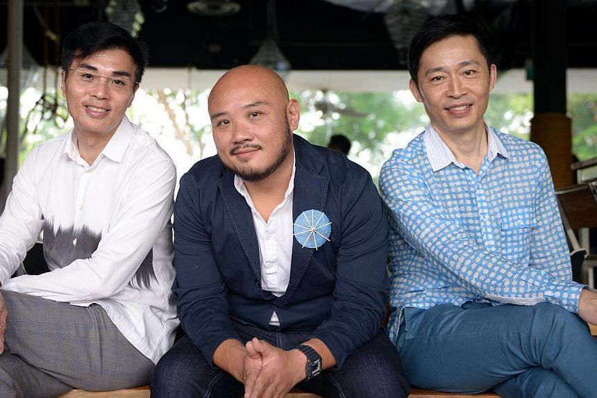 (From left) Composer Jimmy Ye, director Goh Boon Teck and lyricist-playwright Liang Wern Fook are reunited in the restaging of December Rains. -- ST PHOTO: DANIEL NEO