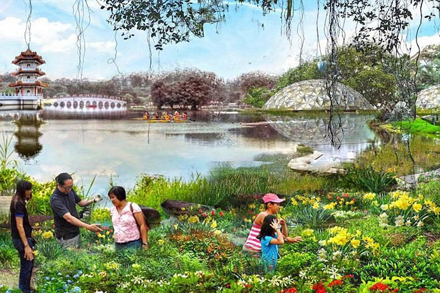 Artist's impression of the new Jurong Lake Gardens. Developments in Jurong include the the Singapore-Kuala Lumpur high-speed rail terminus, the Jurong Lake Gardens, a new science centre, and other commercial and residential developments. -- PHOTO: NP