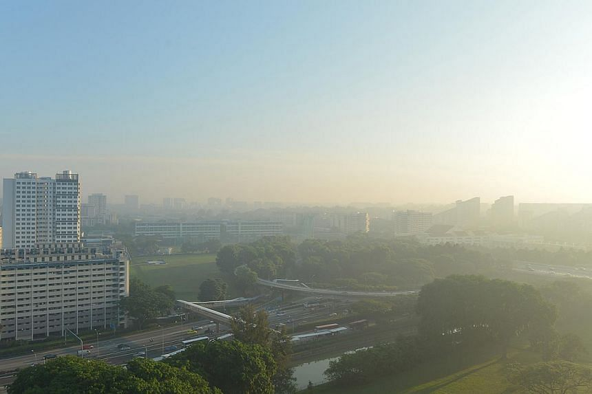 The skies were grey on Tuesday due to a slight hazy condition. The three-hour Pollutant Standards Index (PSI) reading hit 76 at 10am, according to the National Environment Agency's website.-- ST PHOTO:ALPHONSUS CHERN