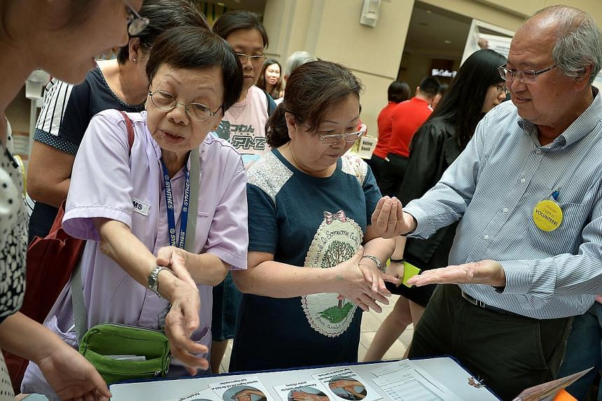 In conjunction with the World Hand Hygiene Day, Tan Tock Seng Hospital (TTSH) is teaming up with its patient leaders and volunteers to co-create a safer environment for its patients.-- ST PHOTO: KUA CHEE SIONG