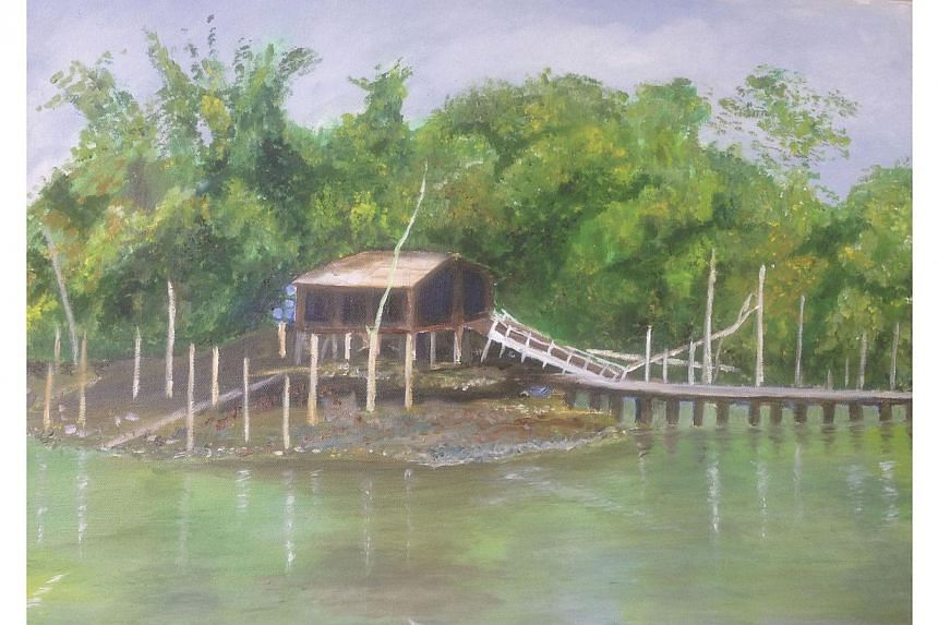 The picture of a painting by former Senior Minister S Jayakumar in the book, Be At The Table Or Be On The Menu: A Singapore Memoir, that chronicles his early life and his career as a law academic and dean before entering politics. -- PHOTO: S JAYAKUM