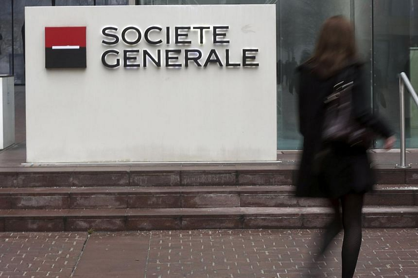 French bank Societe Generale reported a fivefold increase in its first quarter net income thanks to investment banking gains and a smaller hit from its struggling Russian unit. -- PHOTO: REUTERS